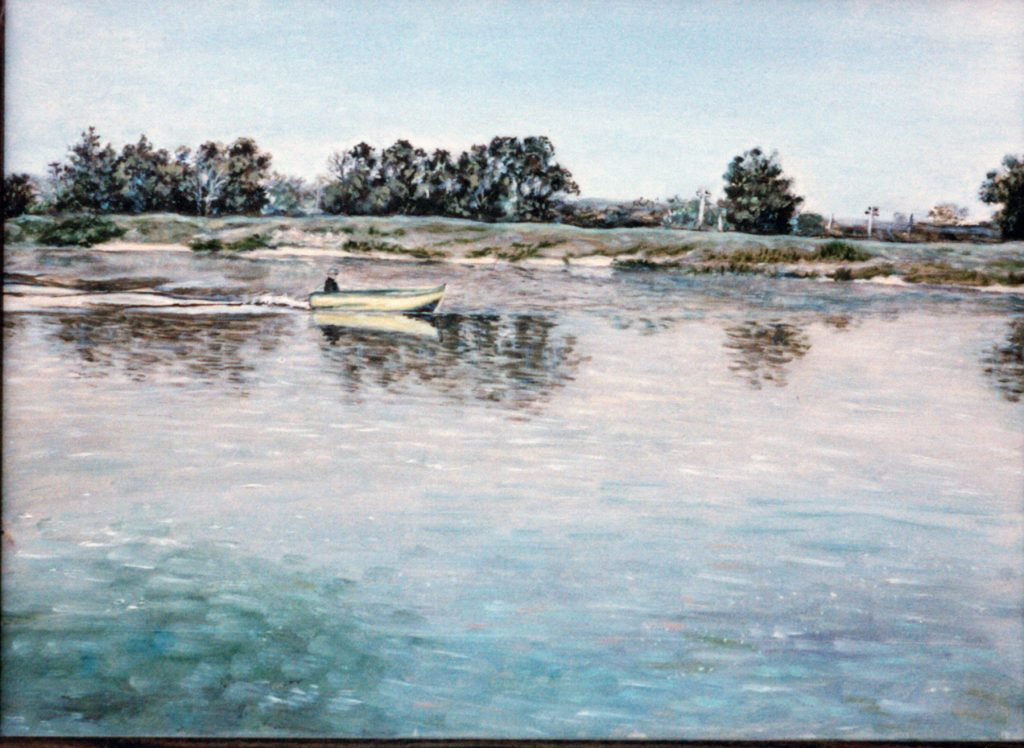 Dedushka in boat original painting