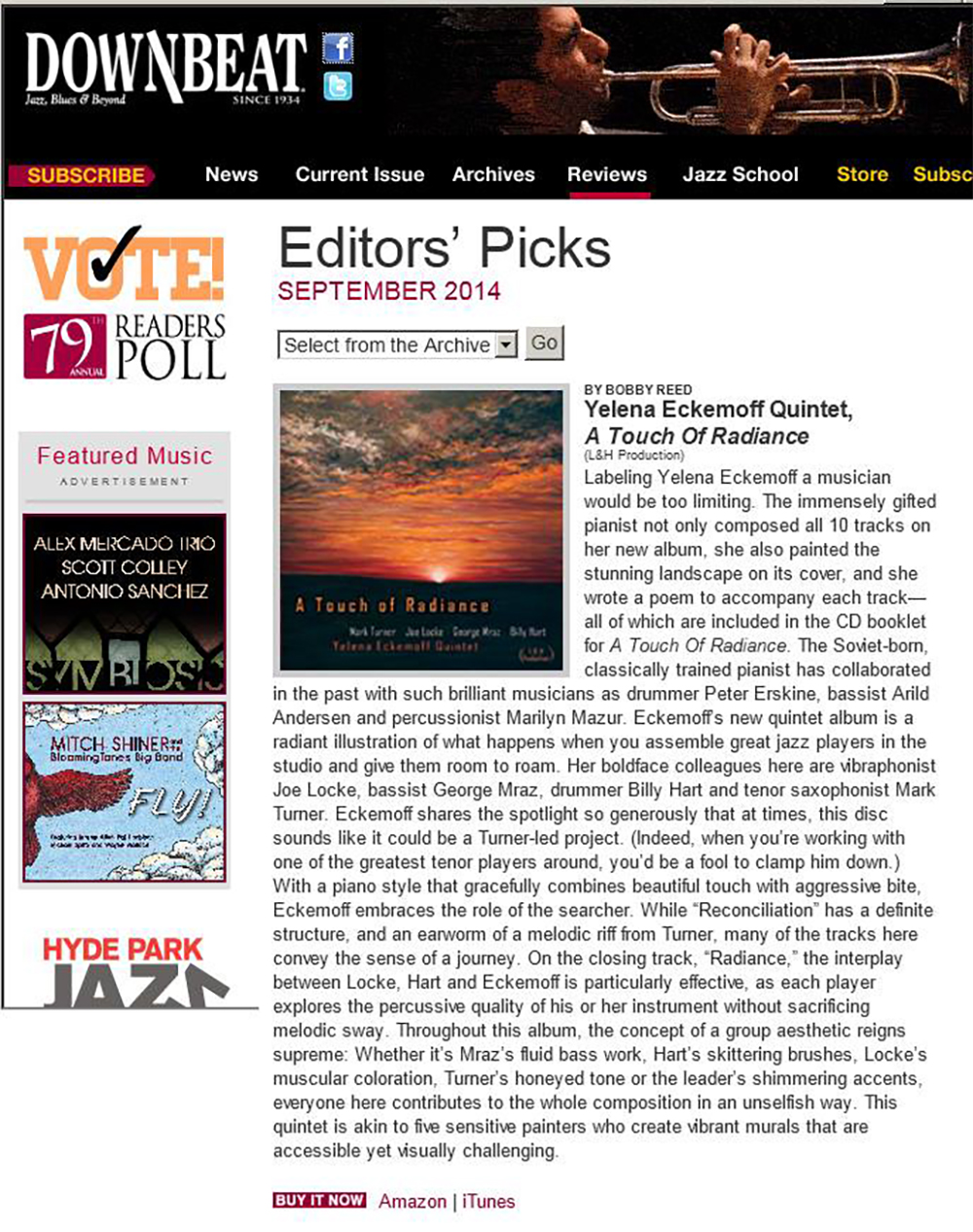 A Touch of Radiance editors pick in Downbeat image