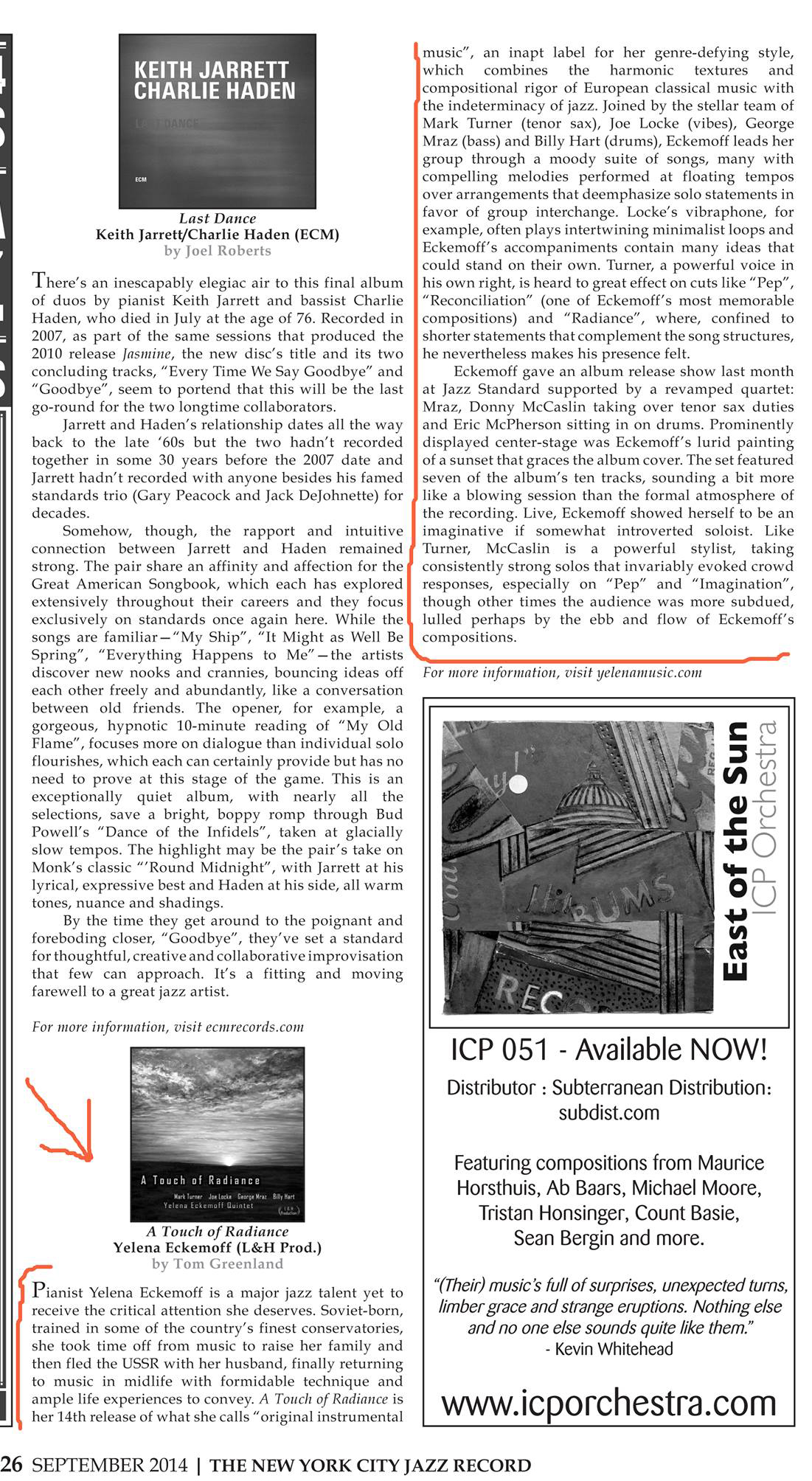A Touch of Radiance review in NYC Jazz Record image