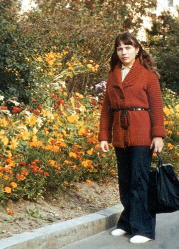 Yelena, 1984, flowerbed background