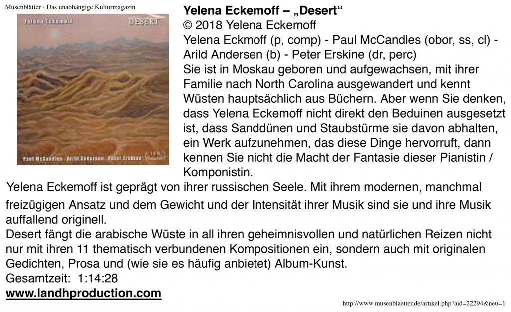 Desert in Musenblatter